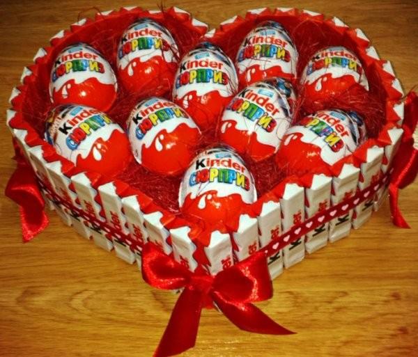 Сердце из киндер шоколада