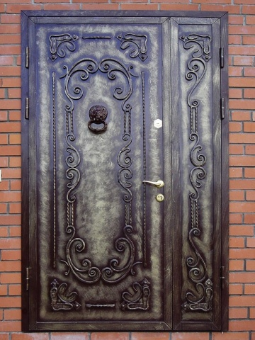 железное двери элементами ковки